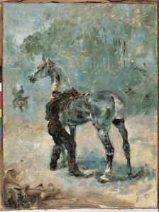 @Musée Toulouse-Lautrec - Artilleur Sellant son Cheval - 1879 - Huile sur Toile - mTL 1