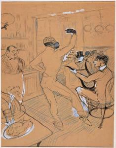 @Musée Toulouse-Lautrec - Chocolat Dansant - 1896 - Peinture à l''Essence - Crayon bleu - Crayon Conté - mTL D138