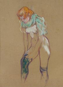 @Musée Toulouse-Lautrec – Femme qui tire son bas – 1894 – Huile sur carton – mTL 177